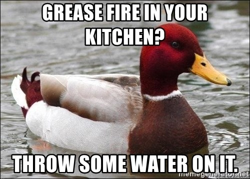 Malicious advice mallard - Grease fire in your kitchen? Throw some water on it.