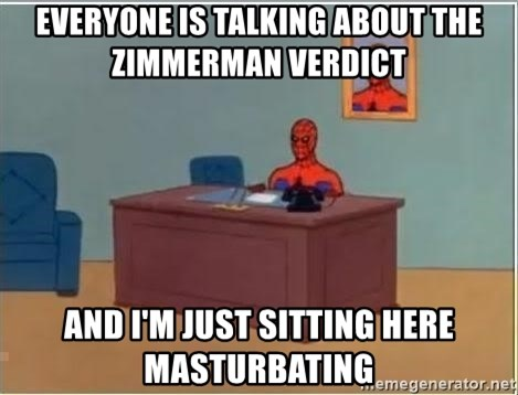 Spiderman Desk - Everyone is talking about the zimmerman verdict  and i'm just sitting here masturbating
