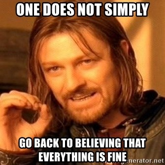 One Does Not Simply - one does not simply go back to believing that everything is fine