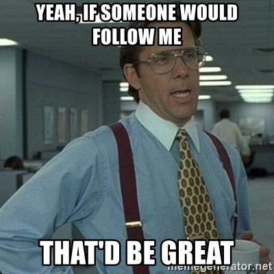 Yeah that'd be great... - YEAH, IF SOMEONE WOULD FOLLOW ME THAT'D BE GREAT