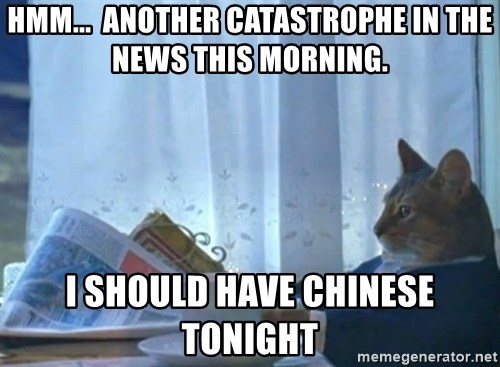 newspaper cat realization - hmm...  another catastrophe in the news this morning. I should have chinese tonight