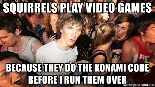 Sudden Realization Ralph - Squirrels play video games because they do the konami code before I run them over