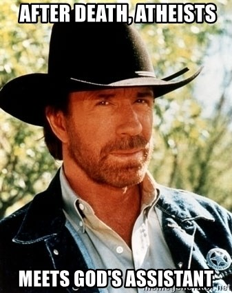 Chuck Norris Pwns -  After Death, Atheists Meets God's Assistant