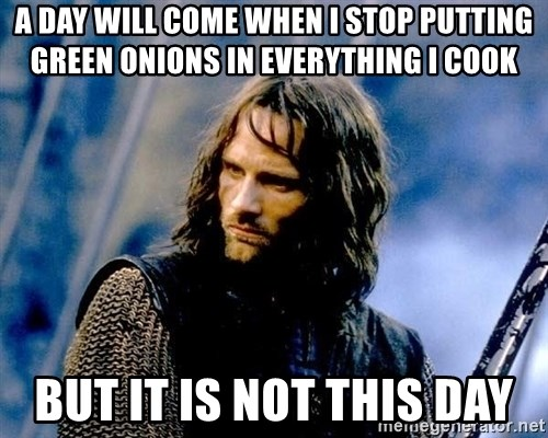 Not this day Aragorn - A DAY WILL COME WHEN I STOP PUTTING GREEN ONIONS IN EVERYTHING I COOK BUT IT IS NOT THIS DAY
