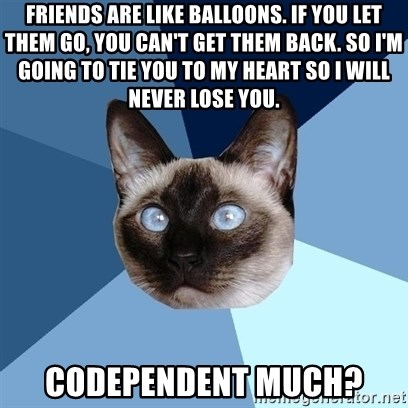 Chronic Illness Cat - Friends are like balloons. if you let them go, you can't get them back. So I'm going to tie you to my heart so I will never lose you. Codependent much?