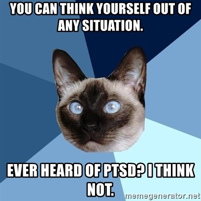 Chronic Illness Cat - You can think yourself out of any situation. Ever heard of PTSD? I think not.