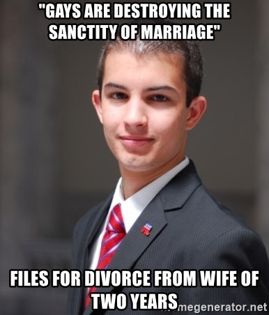 """College Conservative - """"Gays are destroying the sanctity of marriage"""" Files for divorce from wife of two years"""