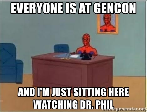 Spiderman Desk - Everyone is at Gencon and i'm just sitting here watching dr. phil