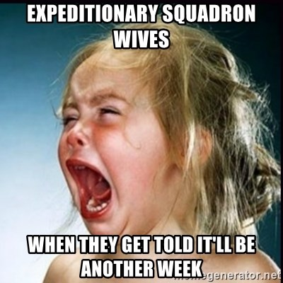 screaming girl - Expeditionary Squadron Wives when they get told it'll be another week