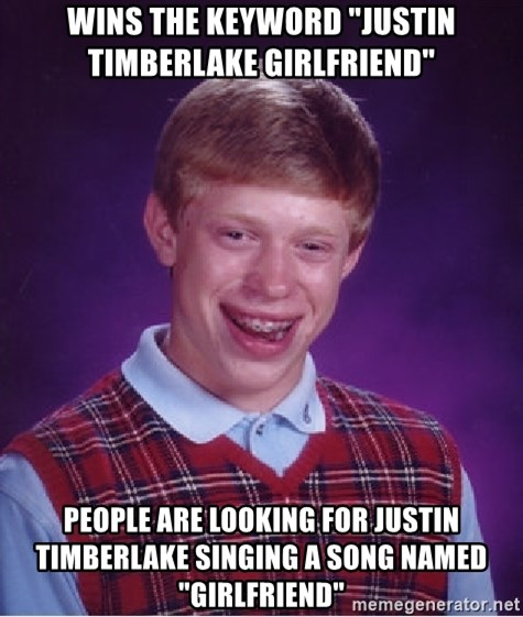 """Bad Luck Brian - Wins the keyword """"Justin Timberlake Girlfriend"""" People are looking for Justin Timberlake singing a song named """"girlfriend"""""""