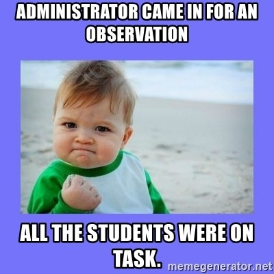 Baby fist - Administrator came in for an observation all the students were on task.