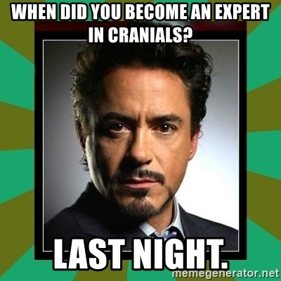 Tony Stark iron - When did you become an expert in cranials? Last night.
