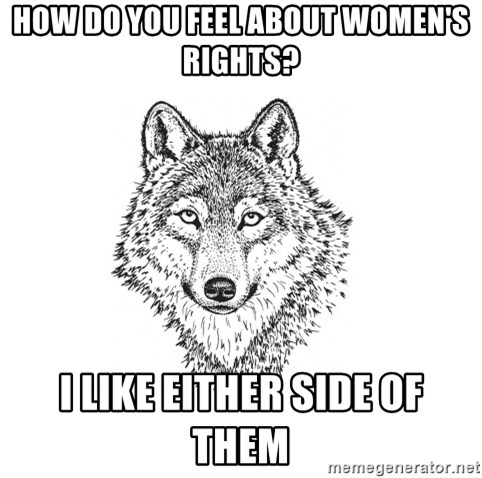Sarcastic Wolf - How do you feel about women's rights? I like either side of them