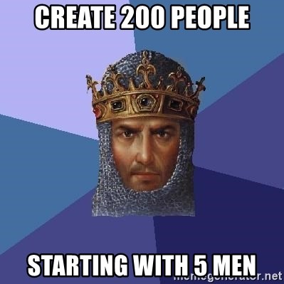 Age Of Empires - Create 200 people starting with 5 men