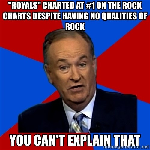 """Bill O'Reilly Proves God - """"Royals"""" charted at #1 on the rock charts despite having no qualities of rock You can't explain that"""