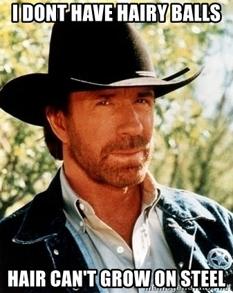 Chuck Norris Pwns - i dont have hairy balls hair can't grow on steel