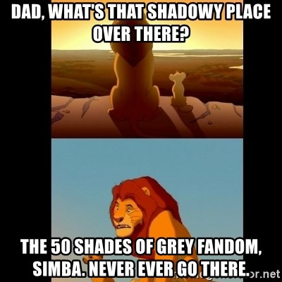 Lion King Shadowy Place - Dad, what's that shadowy place over there? The 50 Shades of Grey fandom, Simba. Never ever go there.