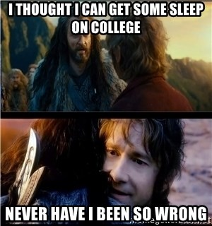 Bilbo and Thorin - I THOUGHT I CAN GET SOME SLEEP ON COLLEGE NEVER HAVE I BEEN SO WRONG