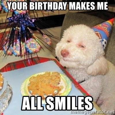 Birthday dog - Your Birthday Makes Me ALL SMILES