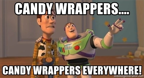 Toy Story Everywhere - Candy Wrappers.... Candy wrappers everywhere!