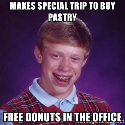 Bad Luck Brian - Makes special trip to buy pastry Free donuts in the office