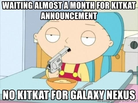 Suicide Stewie - WAITING ALMOST A MONTH FOR KITKAT ANNOUNCEMENT NO KITKAT FOR GALAXY NEXUS