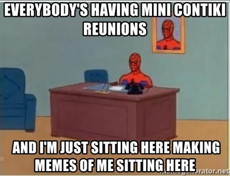 Spiderman Desk - everybody's having mini contiki reunions  and i'm just sitting here making memes of me sitting here