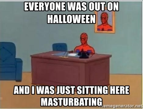 Spiderman Desk - Everyone was out on halloween And I was just sitting here masturbating