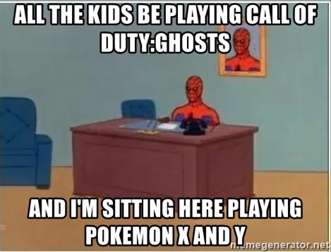 Spiderman Desk - All The Kids Be Playing Call of Duty:Ghosts And I'm sitting here playing Pokemon X and Y