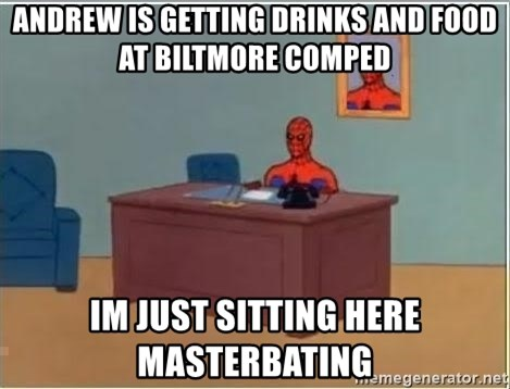 Spiderman Desk - Andrew is getting drinks and food at Biltmore comped im just sitting here masterbating