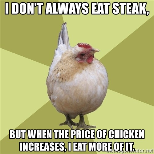 Uneducatedchicken - I don't always eat steak, But when the price of chicken increases, I eat more of it.