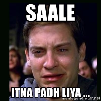 crying peter parker - saale itna padh liya ...