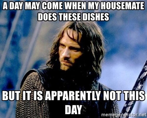 Not this day Aragorn - A day may come when my housemate does these dishes but it is apparently not this day