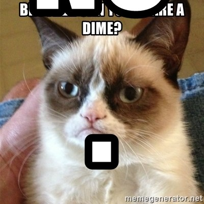 Grumpy Cat  - BROTHER CAN YOU SPARE A DIME? NO.