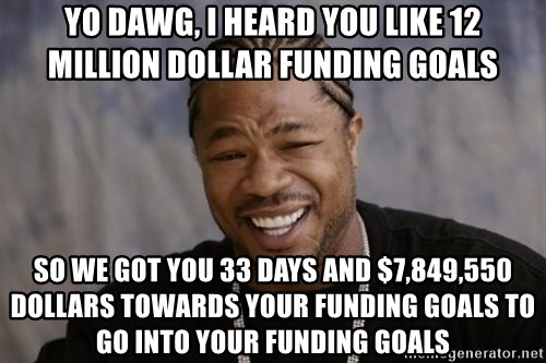 xzibit-yo-dawg - Yo Dawg, I heard you like 12 Million dollar Funding goals So we got you 33 days and $7,849,550 Dollars towards your funding goals to go into your funding goals