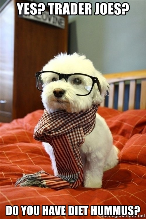 hipster dog - Yes? Trader Joes? Do you have diet hummus?
