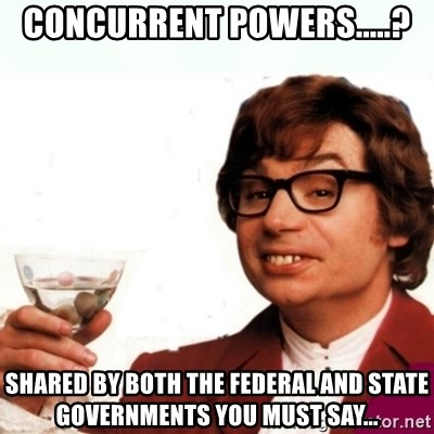 Austin Powers Drink - Concurrent Powers.....? Shared by both the federal and state governments you must say...