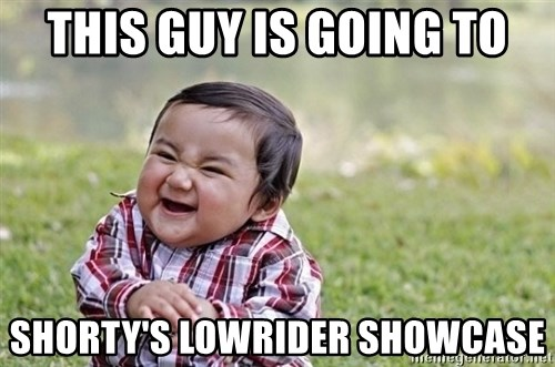 evil asian plotting baby - This guy is going to Shorty's Lowrider Showcase