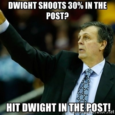 Kevin McFail Meme - DWIGHT SHOOTS 30% IN THE POST?  HIT DWIGHT IN THE POST!