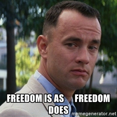forrest gump -  freedom is as      freedom does