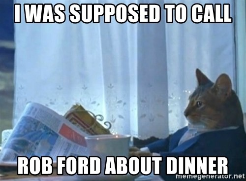 newspaper cat realization - I WAS SUPPOSED TO CALL ROB FORD ABOUT DINNER