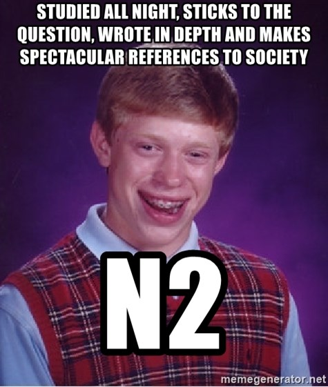 Bad Luck Brian - Studied all night, Sticks to the Question, wrote in depth and Makes spectacular references to Society N2