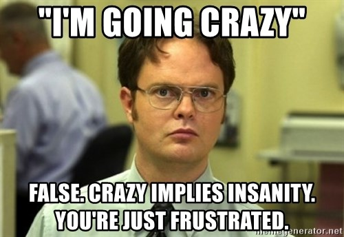 "Dwight Meme - ""I'm going crazy"" False. Crazy implies insanity. You're just frustrated."