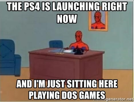 Spiderman Desk - the ps4 is launching right now and i'm just sitting here playing dos games