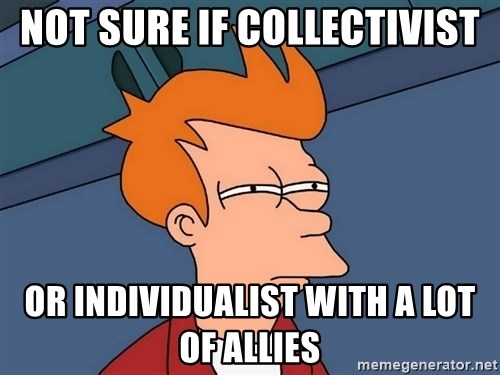 Futurama Fry - Not sure if Collectivist Or Individualist with a lot of allies
