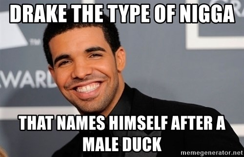 Drake the type of nigga - DRAKE THE TYPE OF NIGGA  THAT NAMES HIMSELF AFTER A MALE DUCK