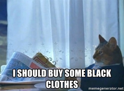 newspaper cat realization -  I should buy some black clothes