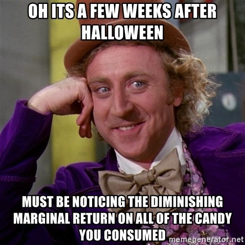 Willy Wonka - oh its a few weeks after halloween must be noticing the diminishing marginal return on all of the candy you consumed