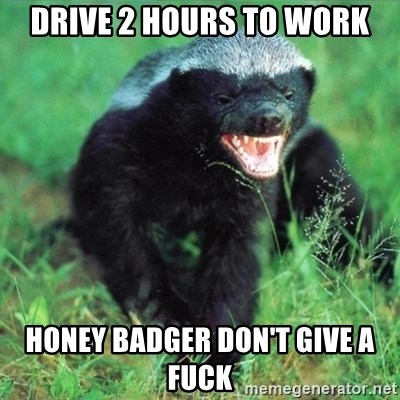 Honey Badger Actual - Drive 2 hours to work Honey Badger don't give a fuck
