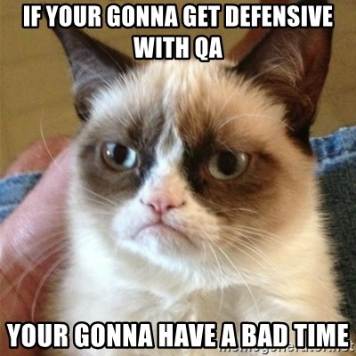 Grumpy Cat  - if your gonna get defensive with qa your gonna have a bad time